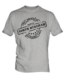 MADE-IN-NORTH-HYKEHAM-MENS-T-SHIRT-GIFT-CHRISTMAS-BIRTHDAY-18TH-30TH-40TH-50TH