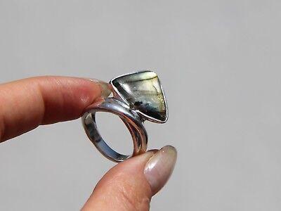 Ausdauernd Ring 925 Silber Labradorit Silberring Schillernd Groß Dreieck Spektrolit Bunt