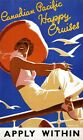 "Vintage Travel Poster CANVAS PRINT Canadian Pacific happy Cruises 24""X16"""
