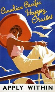 Vintage-Travel-Poster-CANVAS-PRINT-Canadian-Pacific-happy-Cruises-24-034-X16-034