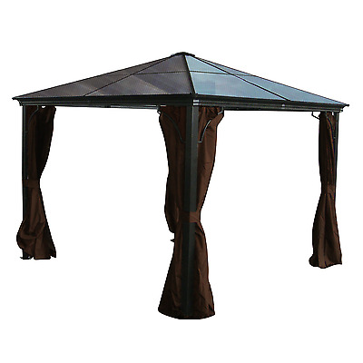 Aluminum Hard Top Gazebo Casa PC Roof - 10x10 with Mosquito Netting Included