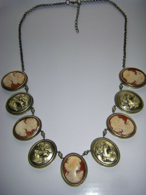 """HSN AMEDEO Signed Bronzetone  9 Cameo 20"""" Drop Necklace Price Reduced"""
