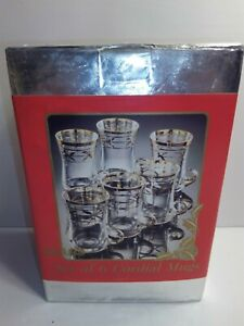 VINTAGE-Set-of-6-CORDIAL-LIQUEUR-GLASS-MUGS-WITH-HANDLES-Sears-1988-NEW