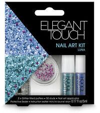 ELEGANT TOUCH nail art kit in Luna 50 studs 2x glitter puffers protective sealer