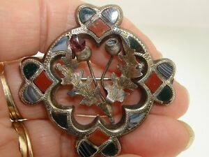 ANTIQUE 1904 SCOTLAND STERLING INLAY AMETHYST THISTLE WM. H. LEATHER PIN!