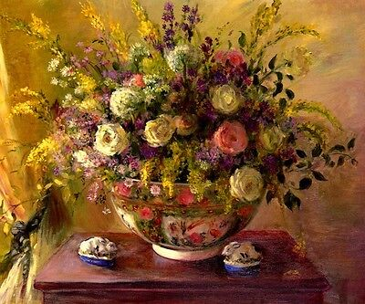 SUMMER FLOWERS FLORAL ARRANGEMENT PAINTING BY ELIZABETH PARSONS REPRO