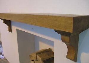 Oak mantel with corbels