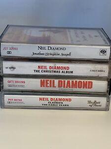 Neil-Diamond-4-Cassette-Tape-Lot-Christmas-Best-of-Times-Primitive-Untested