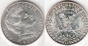 Monnaie-Francaise-100-francs-argent-Marie-Curie-1984