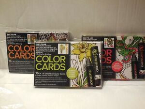 Lot-Of-3-CHAMELEON-16-Color-Cards-Anti-Stress-Adult-Coloring-Cards-Zen-Flowers