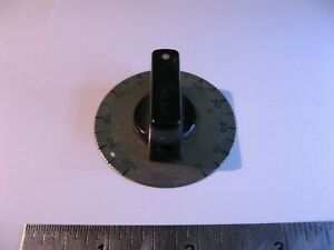 Rectangular-Bakelite-Knob-0-100-Metal-Dial-Grad-1-15-16-034-Dia-7-8-034-Tall-Used-Pull