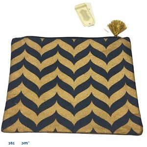 NWT-2015-mud-pie-shimmer-case-navy-gold-whale-tail-pouch-clutch-Jute-carry-all