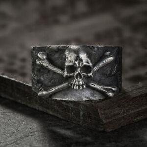 Pirate Skull Ring Mens Womens Silver Rings Stainless Steel 8 9 10 11 UK