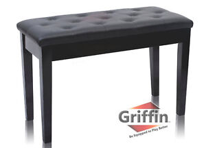 Black-Leather-Piano-Bench-Ebony-Wood-Double-Duet-Keyboard-Seat-Storage-Griffin