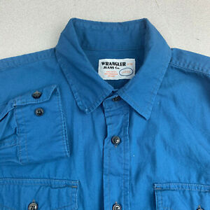 Wrangler-Jeans-Co-Button-Up-Shirt-Mens-Large-Cotton-Blue-Long-Sleeve-Casual
