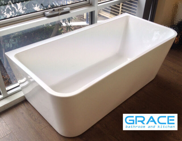 New 1700*800*600 Bath Tub Back to Wall Square Cube Freestanding Seamless Gloss