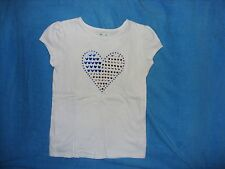 GIRLS JUMPING BEANS RED WHITE BLUE HEART APPLIQUE SHIRT SIZE 5