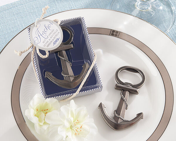 Beach Summer Nautical Anchor Pewter Bottle Opener Bridal Wedding Favor
