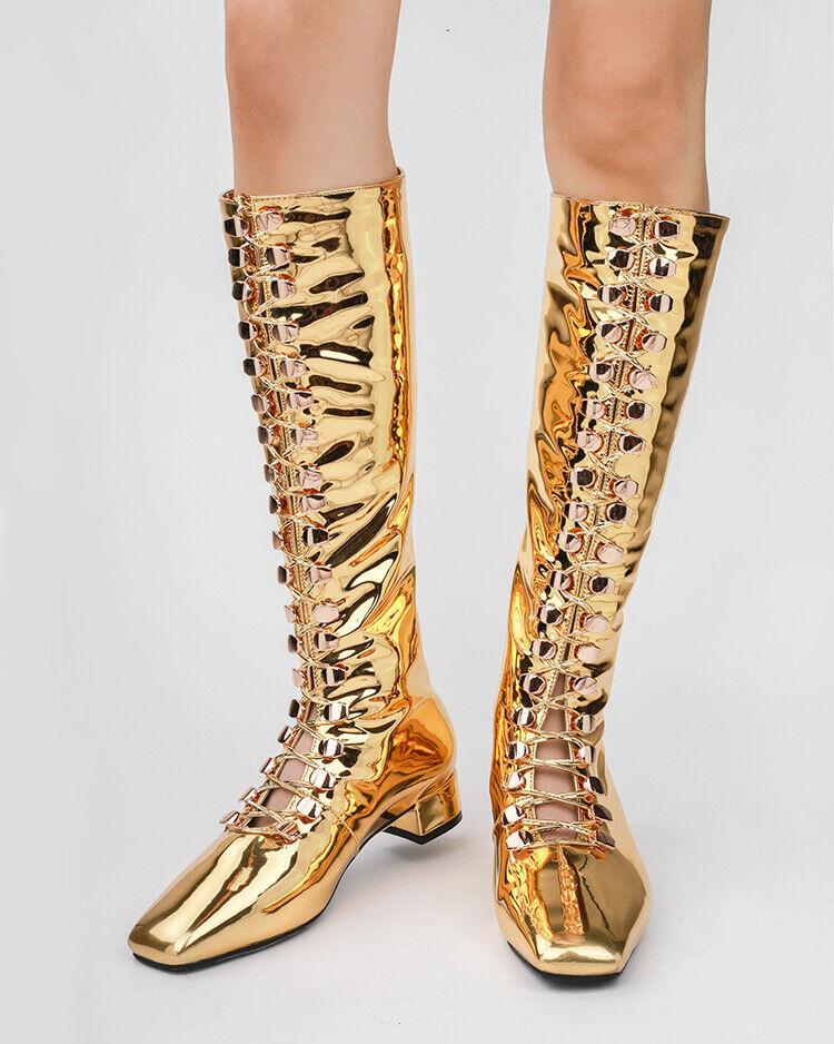 Women's Med Block High Heel Metallic Mirror Knee High Boots Patent Leather shoes