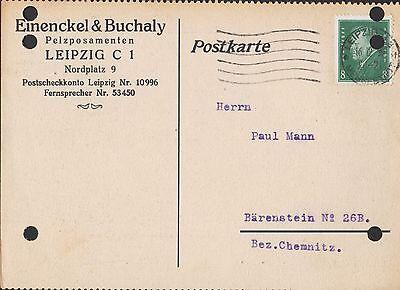 Einenckel & Buchaly Pelzposamenten WunderschöNen Leipzig Postkarte 1930