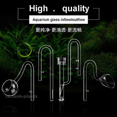 Aquarium tank plant Glass Inflow & Outflow Lily/Poppy Pipe skimmer Φ13MM Φ17MM