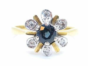 Sapphire-0-40ct-amp-Diamonds-0-06ct-Yellow-14Carat-Gold-Cluster-Ring-Size-M
