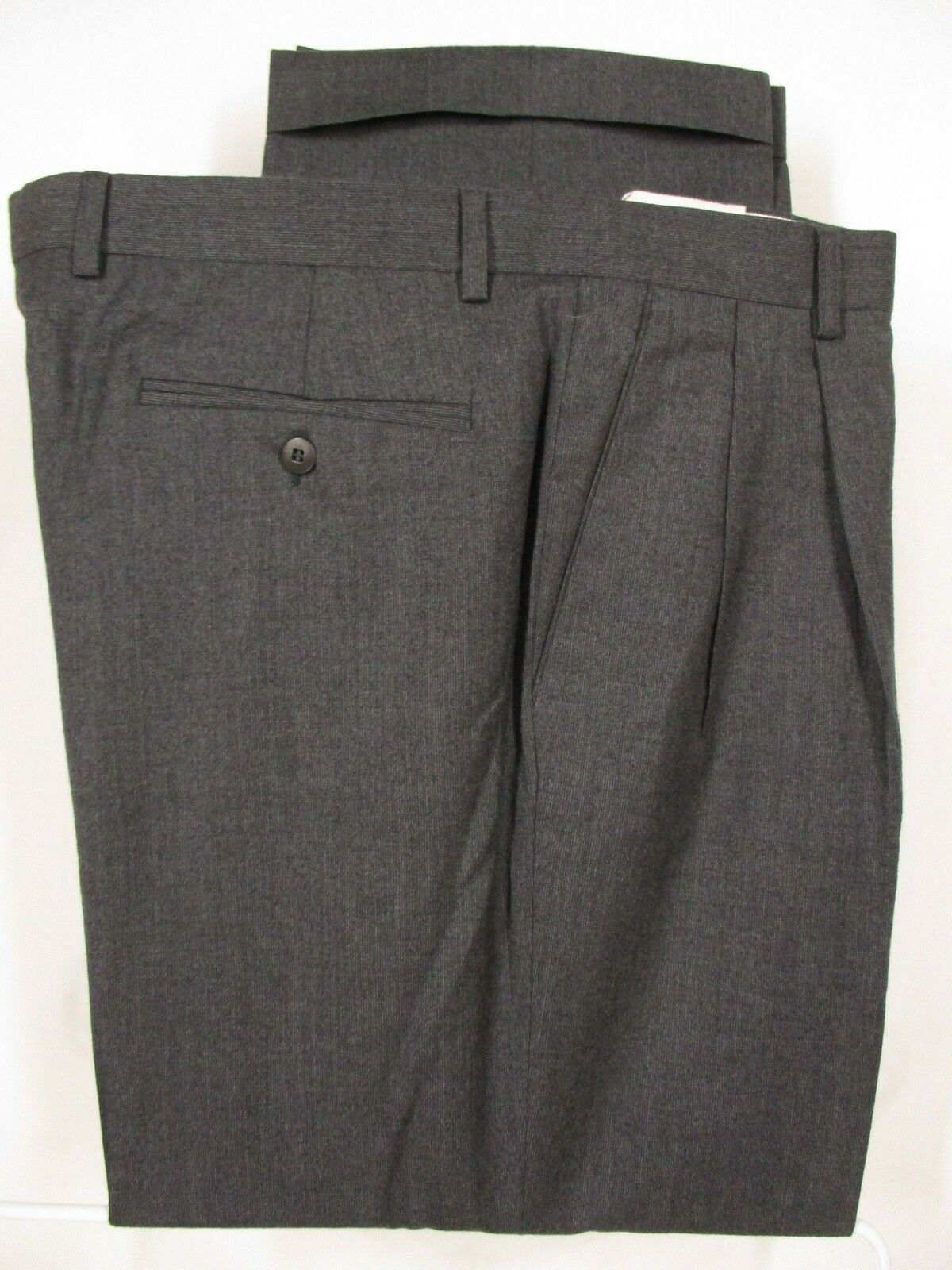 Zanella Mens Grey Pleated Wool Dress Pants 39x28.5