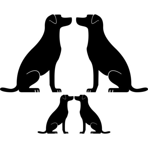 4 Hunde Familie links rechts schwarz Aufkleber Tattoo Deko Folie Auto Fenster