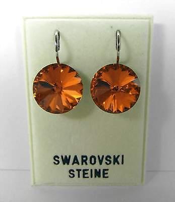 Nuovo Orecchini 14mm Swarovski Pietre In Topaz/braun-orange Orecchini-ange Ohrringe It-it Mostra Il Titolo Originale Squisito Artigianato;