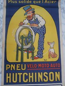 Affiche Mich Hutchinson Pneu Velo Moto Auto Affiches Gaillard Paris Amiens 1920 DernièRe Mode