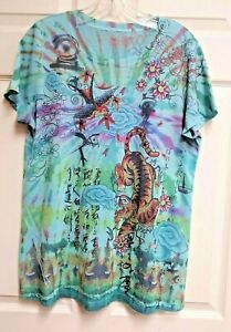 Unbranded-Womens-Blue-Tie-Dye-Graphic-T-Shirt-With-Chinese-Art-Tiger-Bird-Size-L