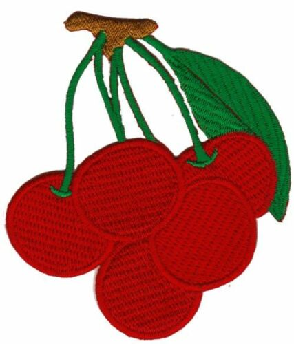 Bc41 Ciliegie Rosso frutto frutta Cherry ricamate APPLICAZIONE IMMAGINE DI STAFFA 7,2 x 8,2 cm