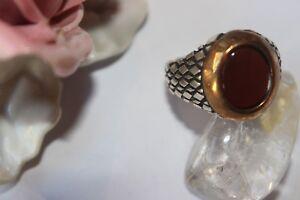 21,0 Mm Silberring Männerring Ring Sterlingsilber 925 Handarbeit Karneol 66 Verkaufspreis