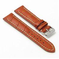 Dassari Concord Leather Watch Band Croc Strap In Tan Breitling Navitimer World