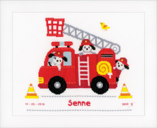 1x Counted Cross Thread Stitch Birth Record Fire Truck Sewing Craft Tool Hobby