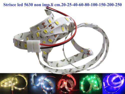 Strisce led 5630 DC 12V non imp.li cm.20-25-40-60-80-100-150-200-250 vari colori