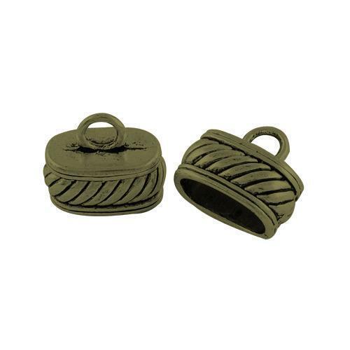 Oval End Caps Antique Bronze Tibetan 13 x 16mm BULK 6 Packs x 6 Pcs Findings