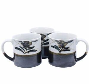 Vtg-MCM-Japanese-Otagiri-Iridescent-Stoneware-Coffee-Mugs-3-5-H-4-5-W-3-Pcs