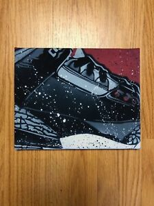 buy popular 06159 d408a Image is loading Air-Jordan-Retro-3-Black-Cement-Canvas-Print-