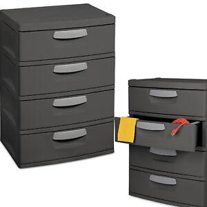 Details About 4 Drawer Cabinet Plastic Office Garage Storage Unit Heavy Duty Organizer Dresser