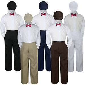 4pc-Boys-Baby-Toddler-Kids-Burgundy-Maroon-Bow-Tie-Formal-Set-Suit-Hat-S-7