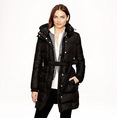 ac46234df NWT J.Crew Wintress Long Belted Down Puffer Coat Jacket XXS-XL Black | eBay