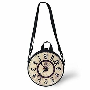 Image is loading Retro-Watch-Clock-Pattern-Round-Shoulder-Bag-Crossbody-