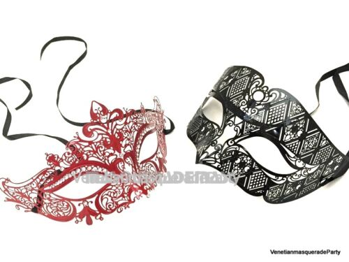 Men and Women couple Masquerade Metal eye mask Dress up Christmas New Year Party