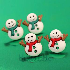 FUNKY SNOW MAN STUD EARRINGS CHRISTMAS CUTE SWEET FESTIVE ...