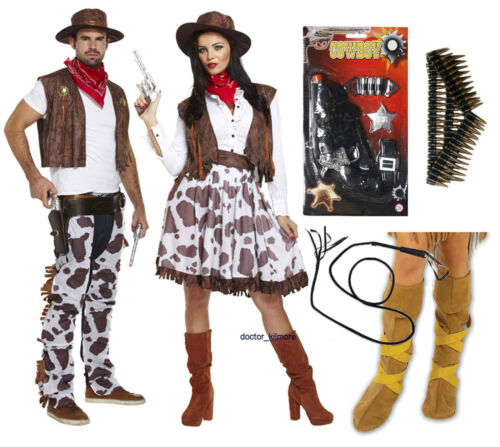 Cowboy COWGIRL adulto Fancy Dress Costume occidentale PISTOLA PROIETTILE Cintura BULL WHIP Stivali
