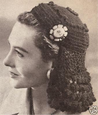 Vintage Crochet Petal Snood Headband Hairband pattern