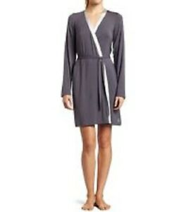 Details About Nwt Calvin Klein Sz M L Women S Modal Blend Gray With Satin Trim Robe T