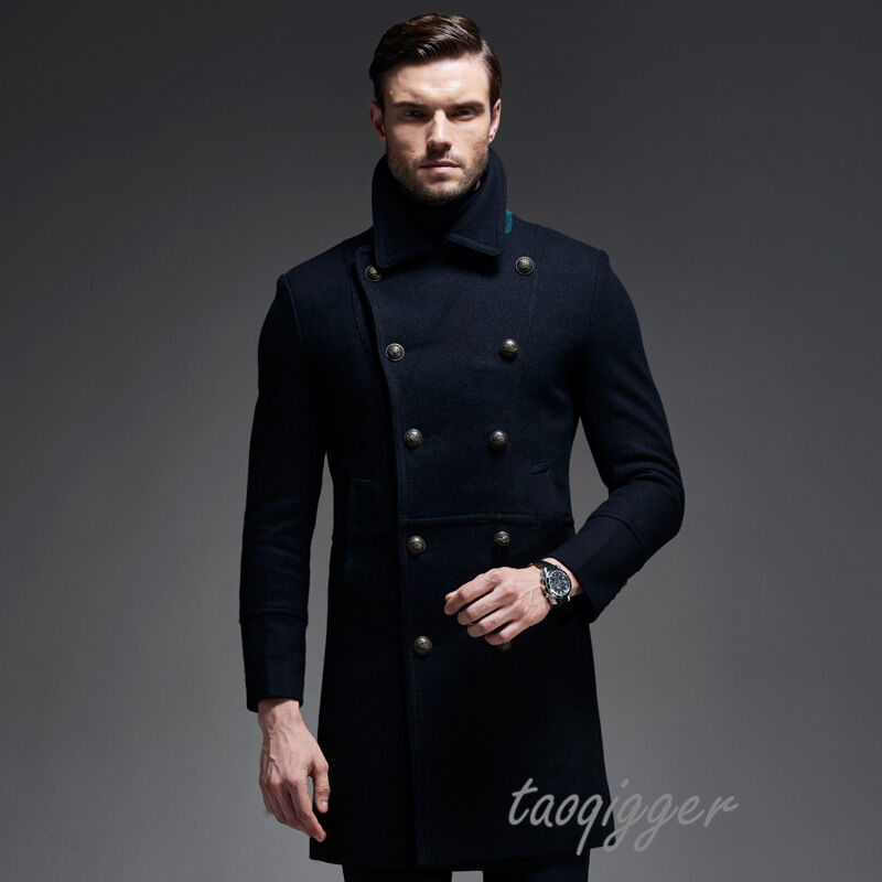 MENS DOUBLE BREASTED WOOL PARKA COAT TRENCH MILITARY LONG COAT PEACOAT THIC NEW
