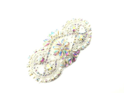 Iron on Rhinestone Diamante Applique Bridal Patch Headband Motif Wedding Dresses